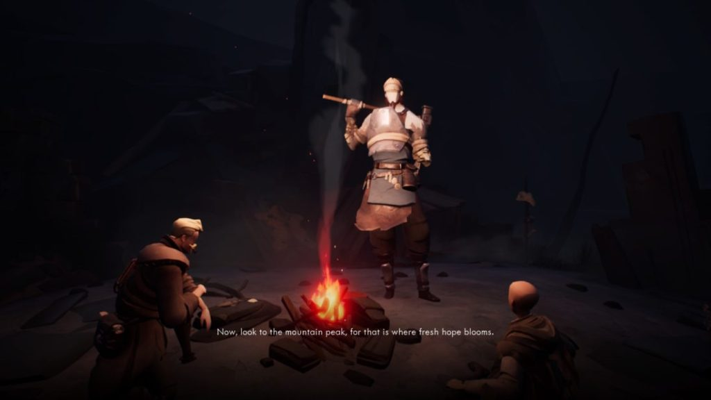 """Man holding big maul/hammer wearing leather armor standing near burning campfire with two people sitting near him. Subtitle text reads, """"Now, look to the mountain peak, for that is where fresh hope blooms."""""""