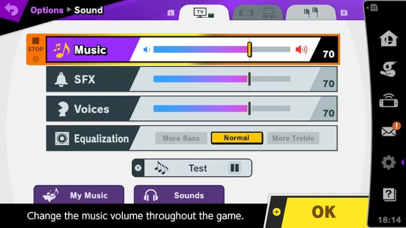 Sound option screen with sliders for music, SFX, voices, and equalization.