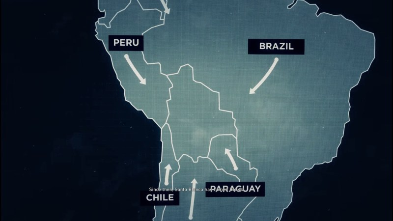 """Map of South America with Peru, Brazil, Chile, and Paraguay labeled. Barely legible subtitle text reads, """"Since then, Santa Blanca has..."""""""