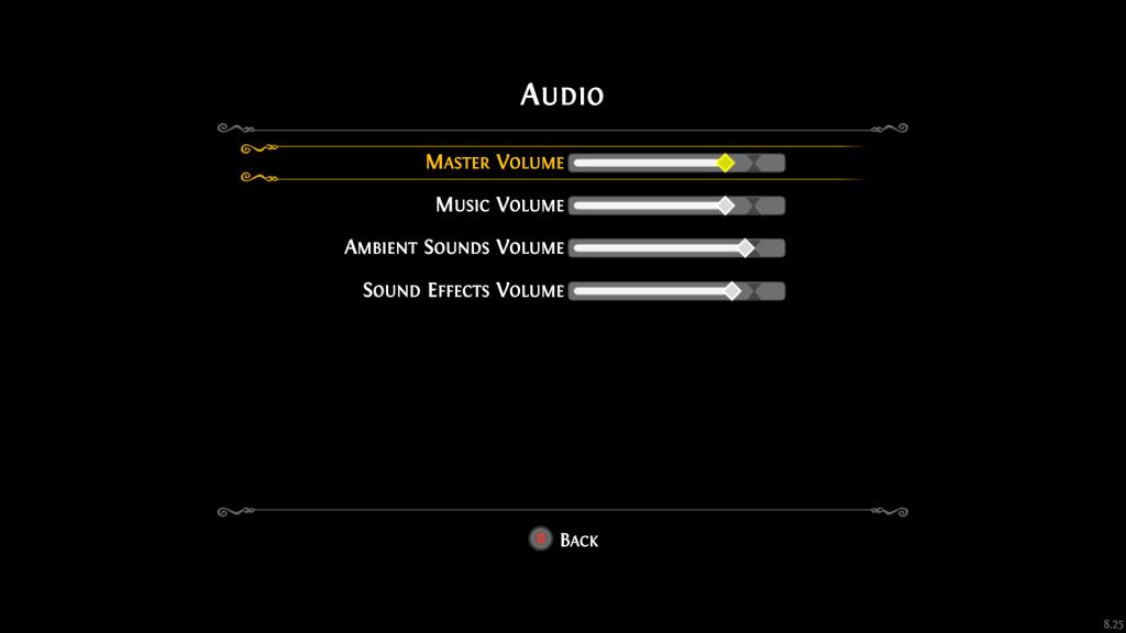 Audio settings menu with volume sliders