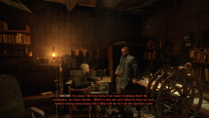 Player character approaching two men talking in clinic area