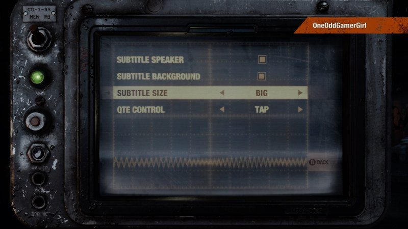 Metro Exodus accessibility options screen