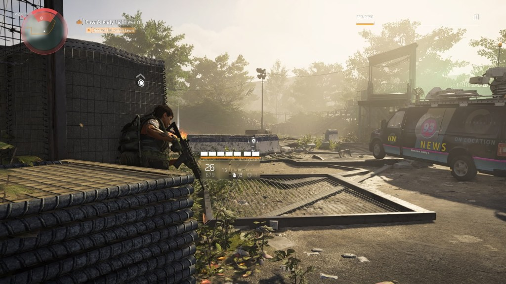 Player character in cover, enemy proximity indicator shows enemies nearby.