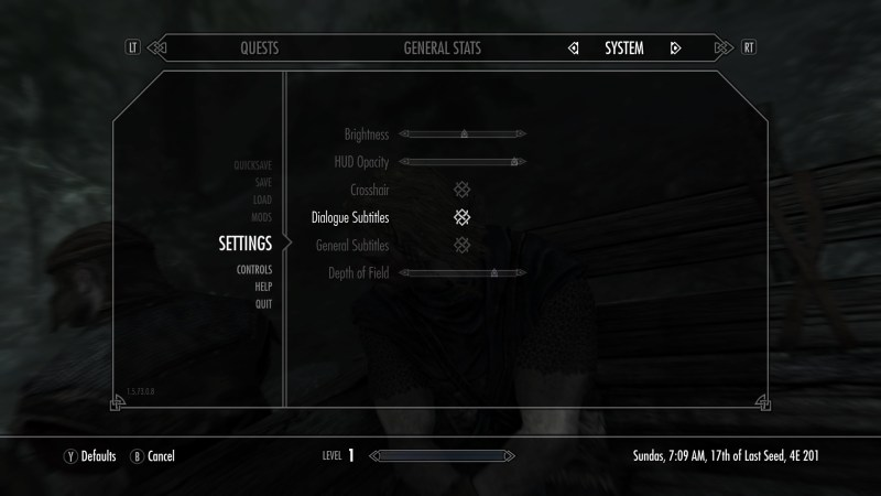 Game settings menu