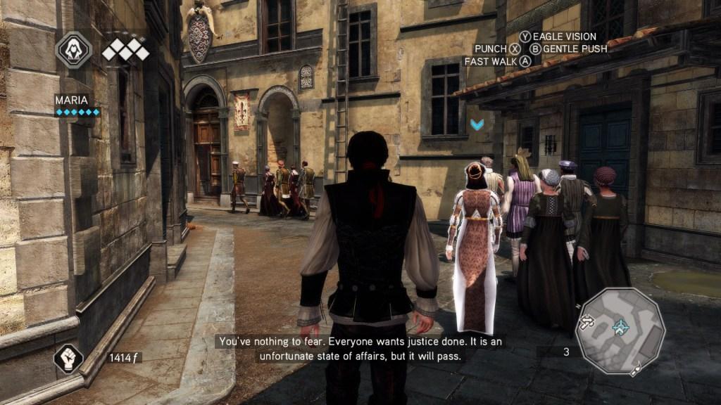 Ezio following an NPC through Florence streets.