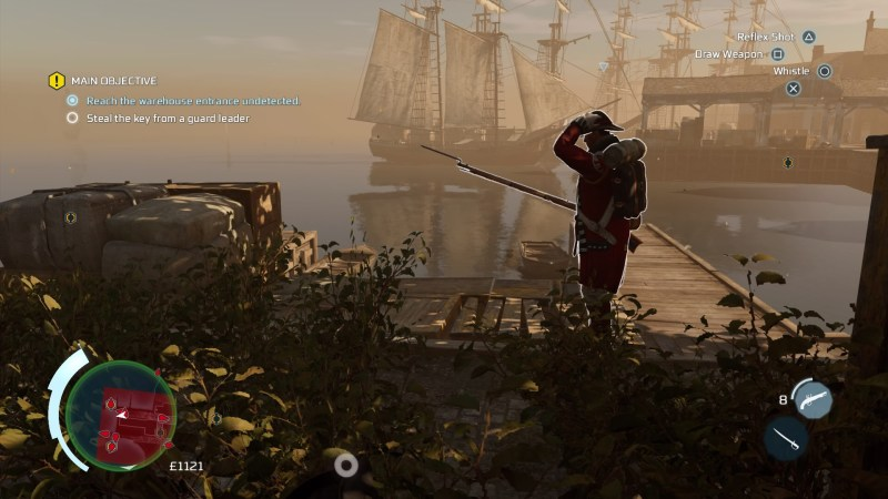 Haytham crouched in weeds, enemy soldier standing nearby.