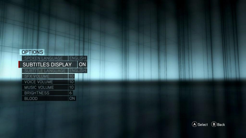 Revelations options menu