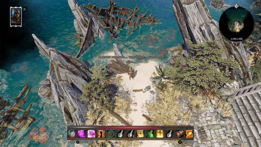 Shipwreck on a beach, player character in center of screen, dialogue text displayed above their head.