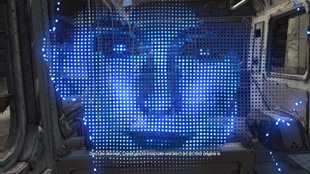 Blue hologram of woman's face with illegible subtitles displayed at the bottom of screen.