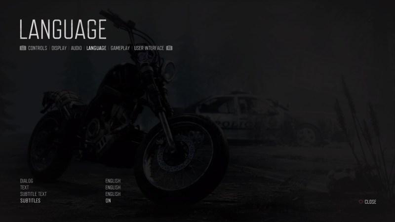 Language options menu