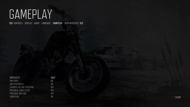 Gameplay settings menu