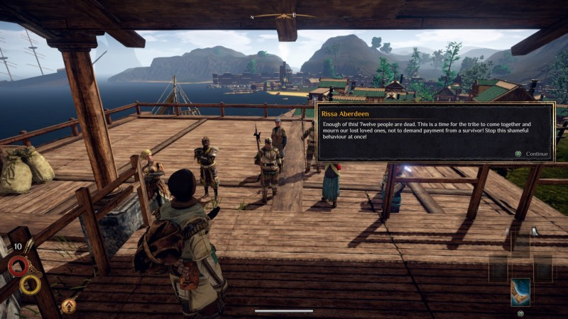 Player character standing in front of several NPCs with illegible dialogue displayed in a black text box.