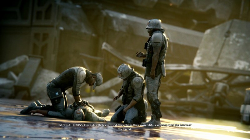 Three soldiers gathered around fallen squad mate, illegible subtitles shown at bottom of screen.