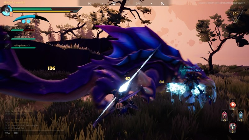 Battle scene showing damage numbers and weapon visual effects.