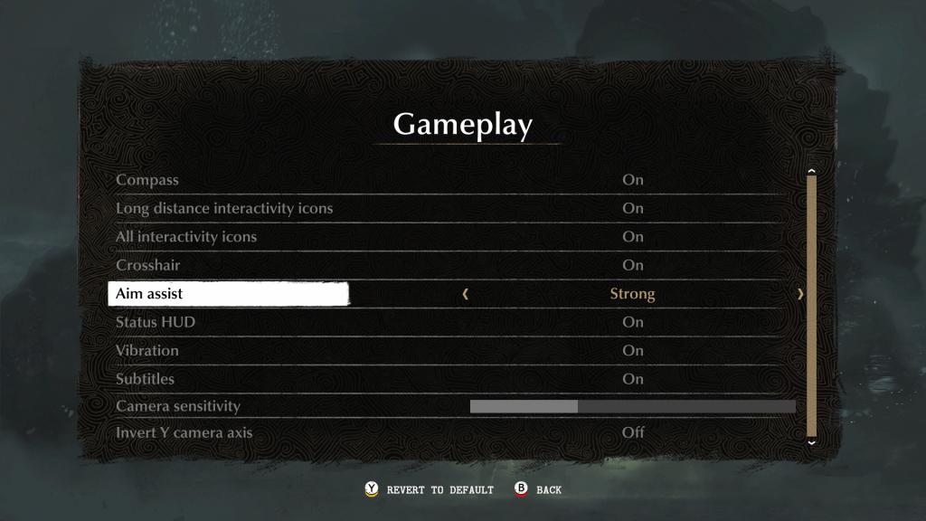Gameplay menu