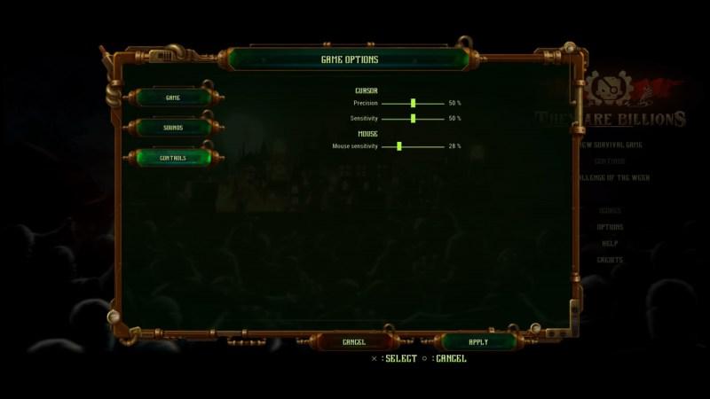 Control options menu
