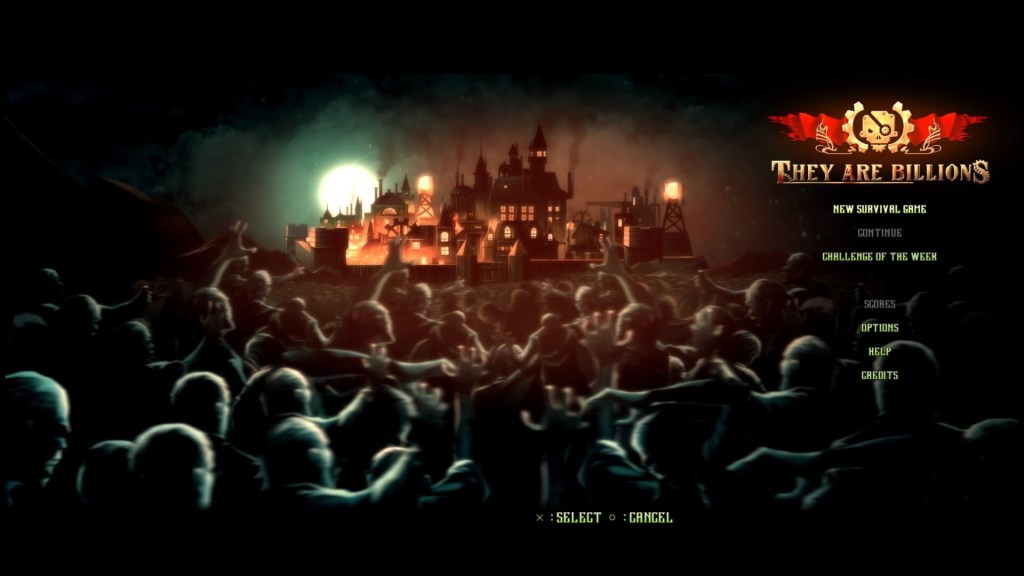 They Are Billions game start screen