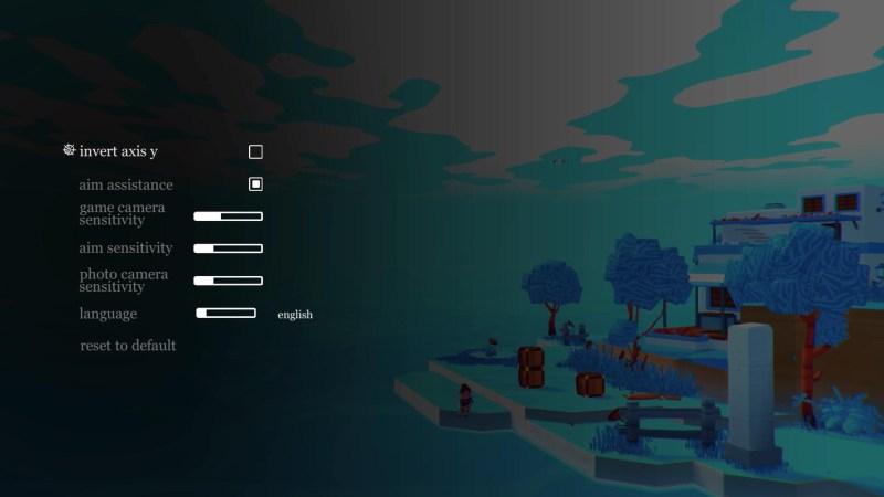 Game options menu.
