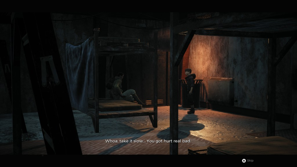 Cutscene with two people talking, shown from a distance, with no speaker labels.