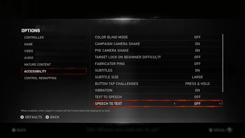 Accessibility options menu.