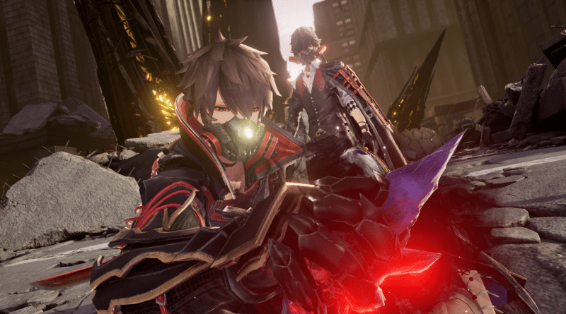 Code Vein press photo with two characters both holding weapons in a ruined city area.