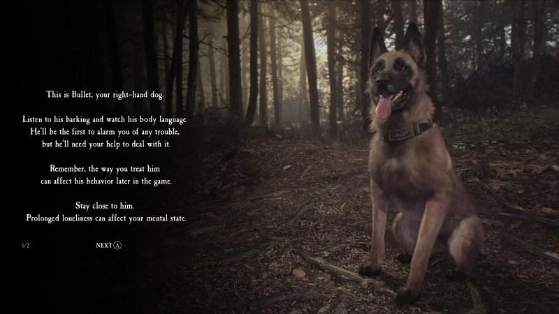 Dog relationship mechanic info screen.
