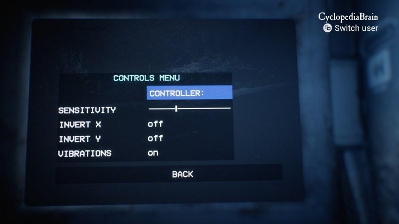 Controls menu