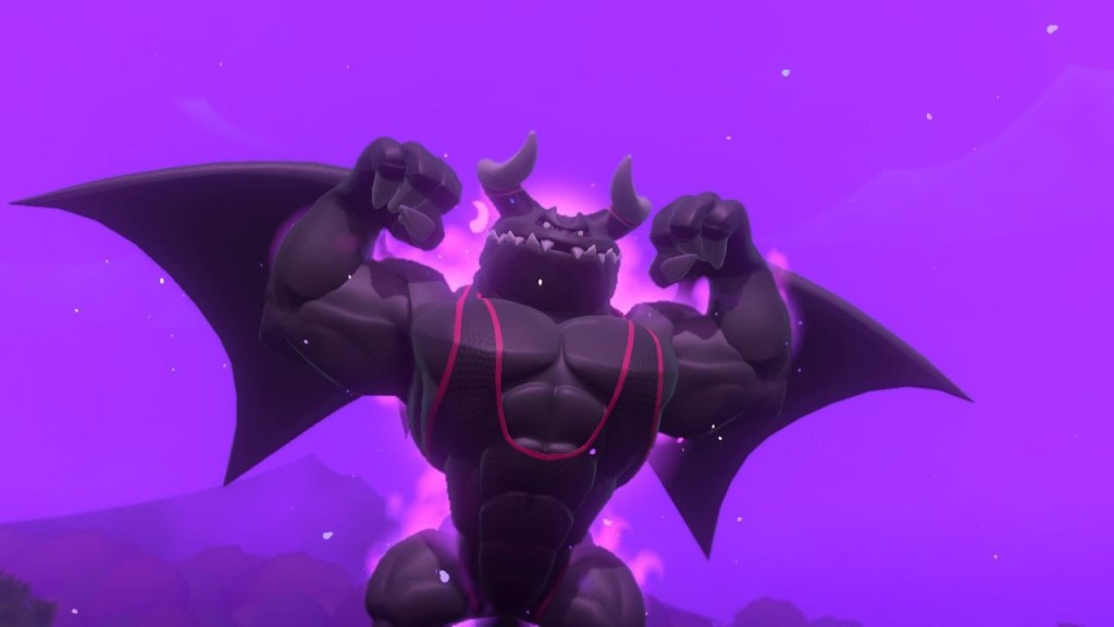 Boss against a purple sky flexing his muscles, wearing a leotard.