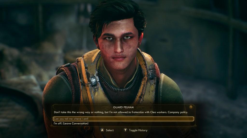 Dialogue options screen.