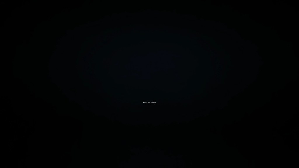 Black screen with very very small text instructions.
