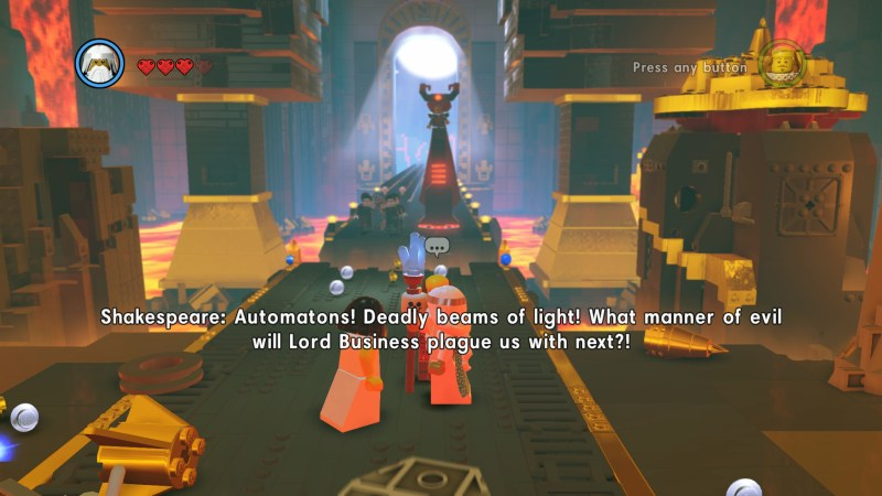 Illustrating in-game subtitles being large and too close to the center of the screen.
