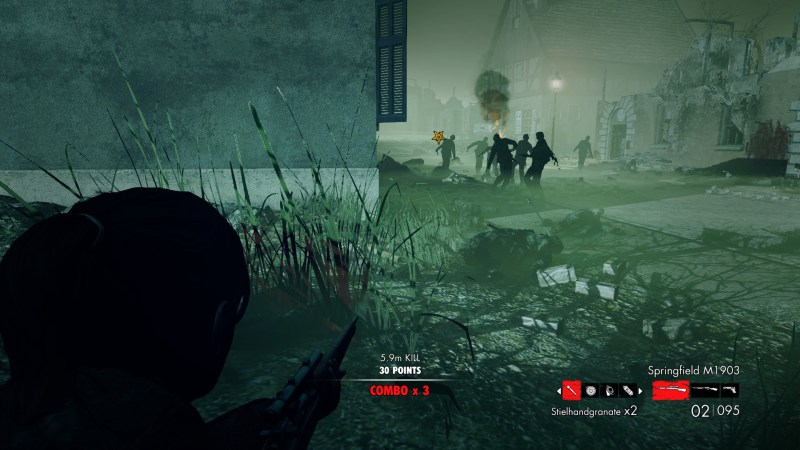 Horde of zombies near the character.