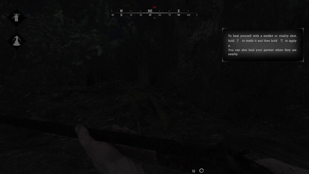A very dark game world scene illustrating the lack of visualization for loud enemies.