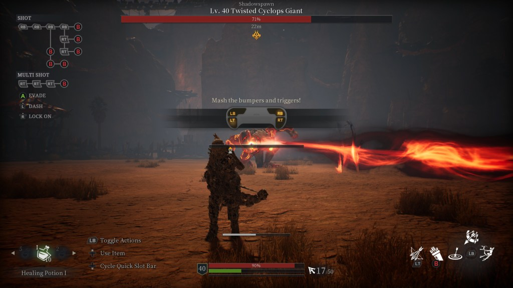 Illustrating the required bumper/trigger mashing in the game's tutorial.