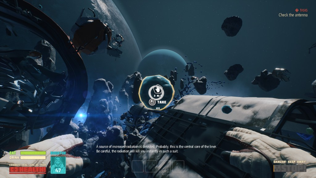 Illustrating how the player must collect space debris.