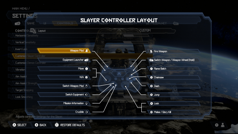 Doom Eternal Slayer Controller Layot. Layout is set to Custom. This Menu allows you to remap controls. There is an image of an Xbox One Controller. The button mapped layout is: Weapon Mod is set to LT, Equipment Launcher is set to LB, Move is set to the Left Thumbstick, Switch Weapon Mod is set to Up D-Pad, Switch Equipment is set to Left D-Pad, Crucible is set to Right D-Pad, Pause Menu is set to the right options button, Look is set to Right Thumbstick, Melee / Glory Kill is set to RS, Jump is set to A, Dash is set to B, Chainsaw is set to X, Flame Belch is set to Y, Switch Weapon / Weapon Wheel (Hold) is set to RB, Fire Weapon is set to RT.
