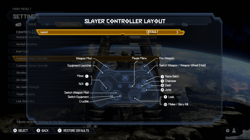 Doom Eternal Slayer Controller Layot. Layout is set to Default. There is an image of an Xbox One Controller. The button mapped layout is: Weapon Mod is set to LT, Equipment Launcher is set to LB, Move is set to the Left Thumbstick, Switch Weapon Mod is set to Up D-Pad, Switch Equipment is set to Left D-Pad, Crucible is set to Right D-Pad, Pause Menu is set to the right options button, Look is set to Right Thumbstick, Melee/Glory Kill is set to RS, Jump is set to A, Dash is set to B, Chainsaw is set to X, Flame Belch is set to Y, Switch Weapon / Weapon Wheel (Hold) is set to RB, Fire Weapon is set to RT.