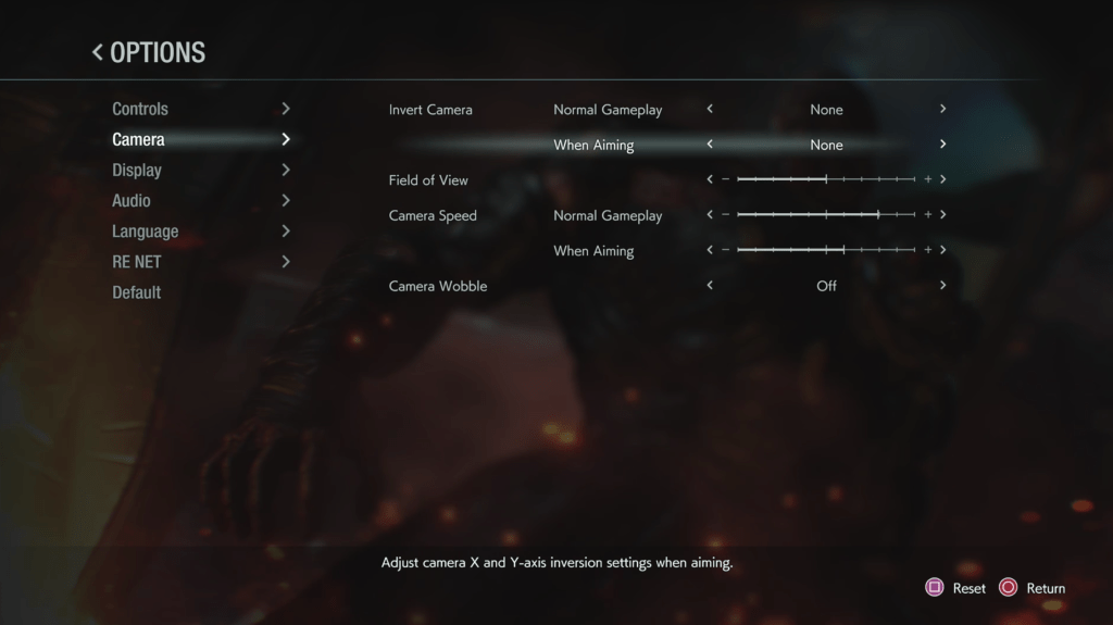 Resident Evil 3 Camera Settings Menu - Options include: Invert Camera Normal Gameplay set to None, Invert Camera When Aiming set to None Field of View set to 50%, Camera Speed Normal Gameplay set to 75%, Camera Speed When Aiming set to 60%, Camera Wobble set to Off