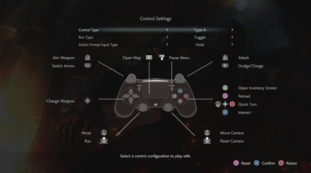 Resident Evil 3 Control Settings Sub Menu. Control options include: Control Type set to Type A, Run Type set to Toggle, Action Prompt Input Type set to Hold. There is a photo of the Playstation Dualshock 4 controller. Buttons mapped to: Aim Weapon set to L2, Switch Ammo set to L1, Change Weapon set to the D-Pad, Move set to Left Thumb Stick, Run set to LS, Open Map set to the Touch Pad, Options set to Pause Menu, Move Camera set to Right Thumbstick, Reset Camera set to RS, Interact set to X, Left Thumbstick plus Circle set to Quick Turn, Reload set to Square, Open Inventory set to Triangle.