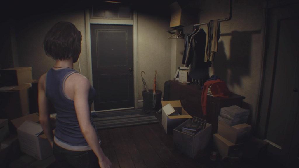 Jill going to her door.