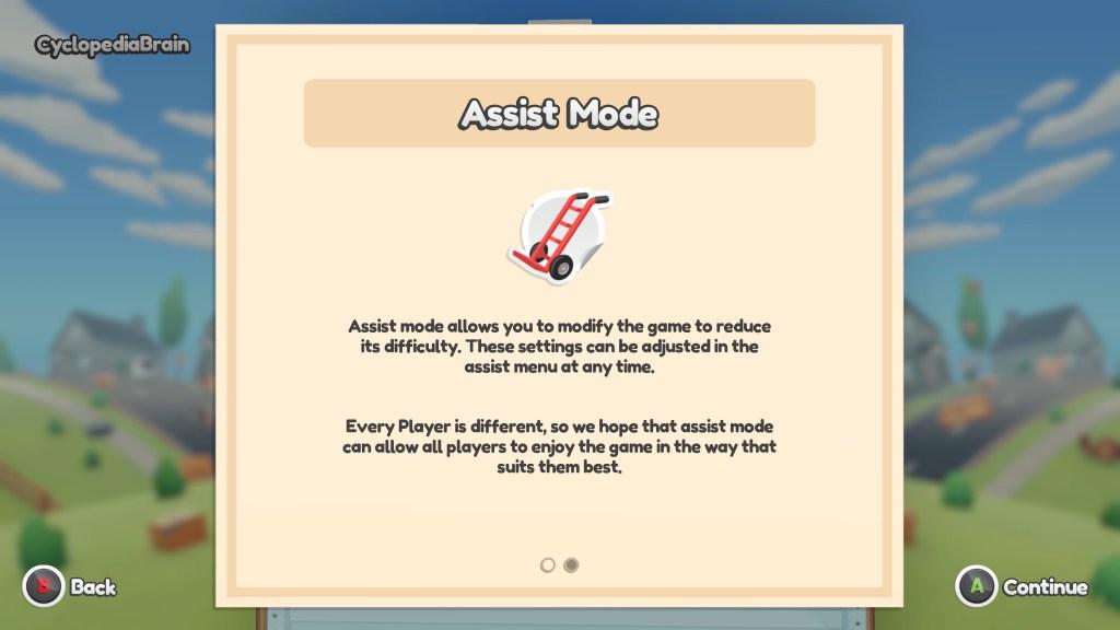 Assist mode info screen.