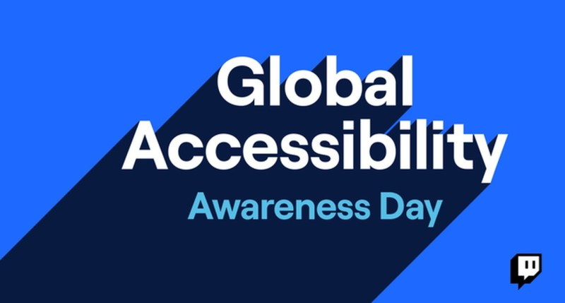 Global Accessibility Awareness Day on blue background, twitch logo in bottom right