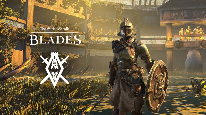 elder scrolls: blades - White logo shown over an image of an armored character stood in an arena
