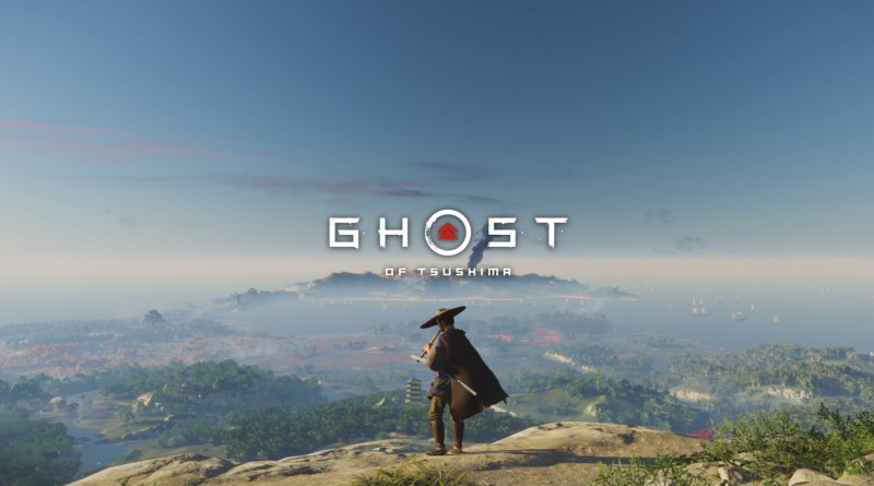 ghost of tsushima - Samurai standing in foreground playing a wooden flute overlooking a vast landscape with fog. The logo is central.