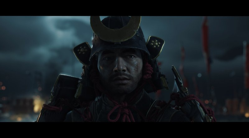 ghost of tsushima - samurai looking past the camera, dark clouds behind him.