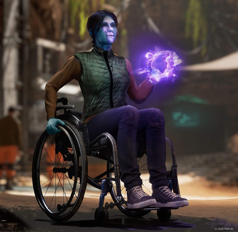 Marvel's avengers - cherry thompson's in-game character. An inhuman with purpleish/blueish skin in a wheelchair as one hand has a magic element glowing purple in their hand