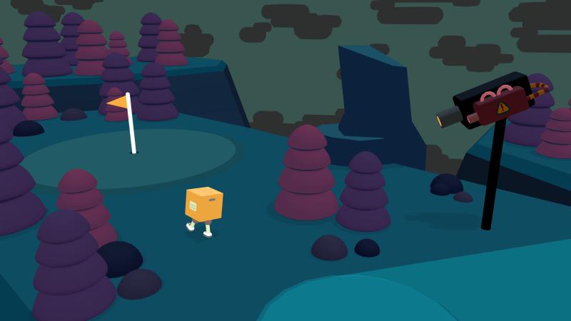 What the Golf? - a yellowed cardboard box with feet walks towards a golf post in a dark  cartoon environment