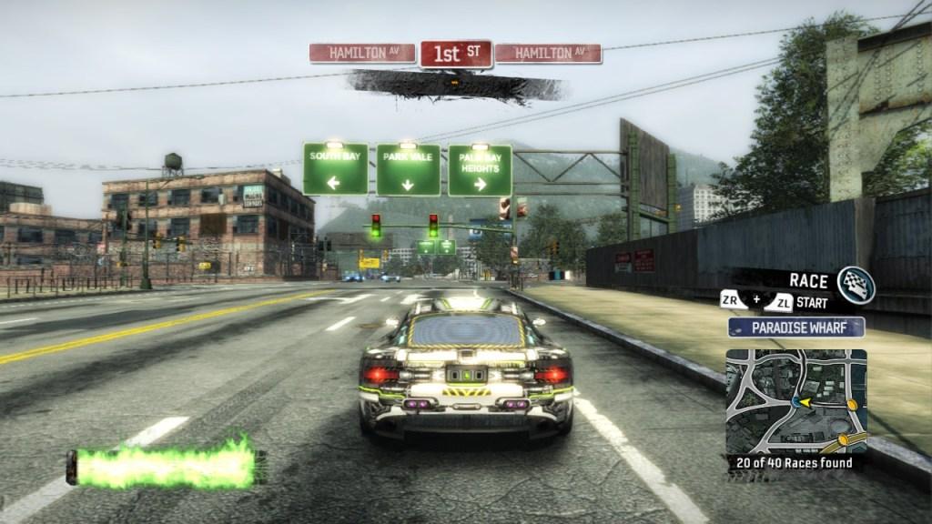 Burnout Paradise Remastered car driving through street