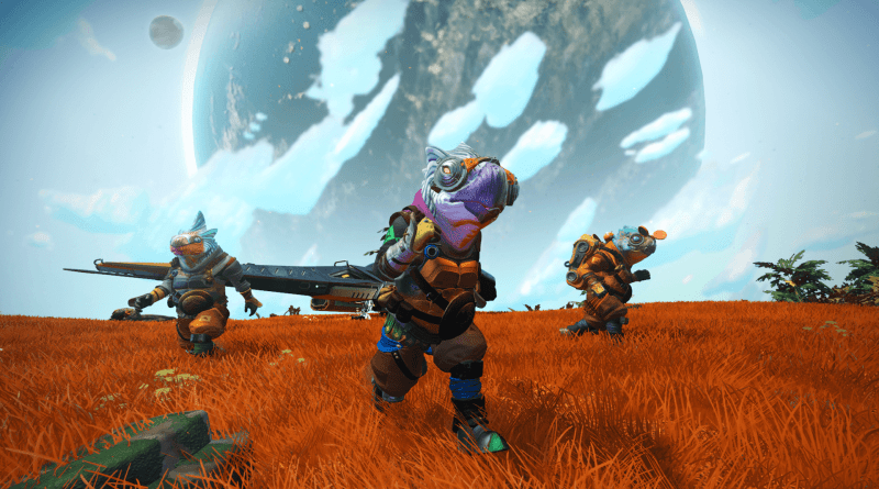 No Man's Sky - Three weird parrot headed alien people standing on a planet with a spaceship behind them.