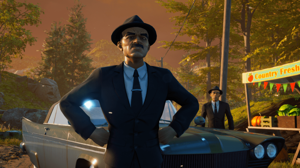 Destroy All Humans Men in suits by a black car
